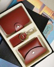 Spesifikasi Ezy Wallet 3Piece Set Brown Dompet Kartu Dompet Koin Gantungan Kunci Bagus