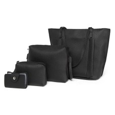 EZY Women Bag Set 4pcs - Tote Bag, Sling bag, Pouch, Card Holder (HITAM / BLACK)