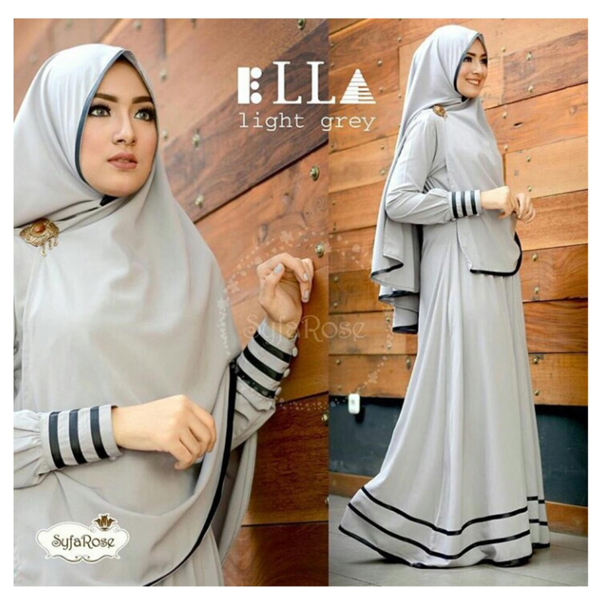 Fashionable F Fashion Baju Muslim Gamis Syari Najwa - Abu / Dress Muslimah / Hijab
