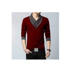 F Fashion Kaos Pria Minho - Maroon / Baju Pria / Kemeja Pria / Baju Santai Pria / Baju Muslim Pria / Kemeja Formal / Atasan Pria / Kemeja Kerja Pria