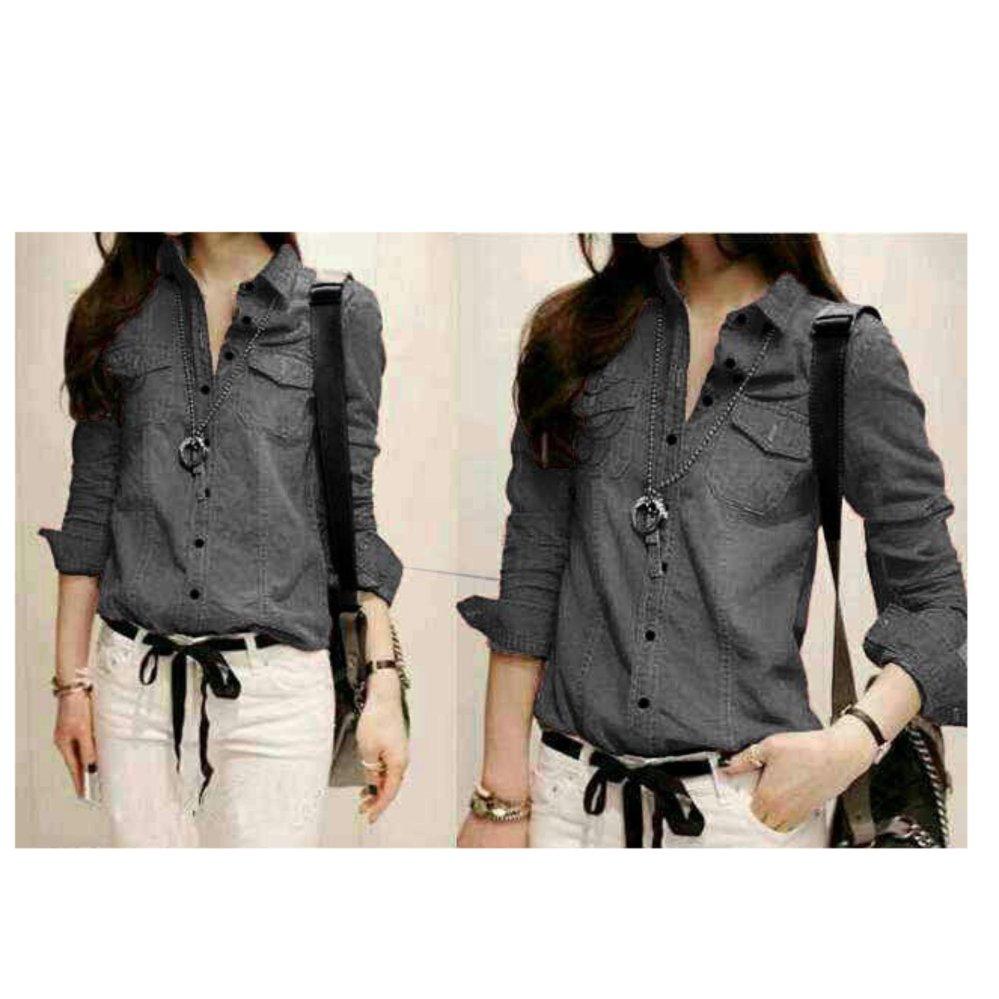 Fashionable F Fashion Kemeja Wanita Jolly - Abu Tua / Baju Wanita / Blouse Korea / Atasan