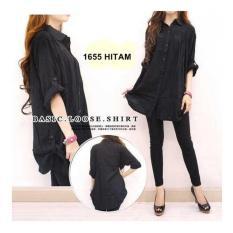 F Fashion Kemeja Wanita Jumbo Size - Hitam / Baju Jumbo / Kemeja Jumbo / Big Size / Baju Jumbo Wanita / Baju Muslim Jumbo / Baju Ukuran Besar / XL / XXL / Baju Muslim / Kemeja Kerja / Kemeja Katun