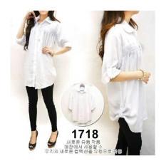 F Fashion Kemeja Wanita Jumbo Size - Putih / Baju Jumbo / Kemeja Jumbo / Big Size / Baju Jumbo Wanita / Baju Muslim Jumbo / Baju Ukuran Besar / XL / XXL / Baju Muslim / Kemeja Kerja / Kemeja Katun