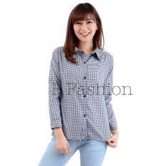 F Fashion Kemeja Wanita Kotak Hitam / Baju Wanita / Blouse Korea / Atasan Wanita / Baju Formal / Kemeja Wanita / Kemeja Formal / Atasan Muslim / Kemeja Cewek Tunik / Kemeja Kerja / Kemeja Katun