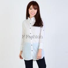 F Fashion Kemeja Tunik Wanita Qiera Button - Putih / Baju Wanita / Blouse Korea / Atasan Wanita / Baju Formal / Kemeja Wanita / Kemeja Formal / Atasan Muslim / Kemeja Cewek Tunik / Kemeja Kerja / Kemeja Katun