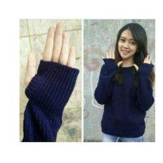 F Fashion Sweater Wanita Thumb Hand - Navy / Sweater Wanita / Baju Hangat / Baju Tebal / Sweater Panjang / Kaos Sweater / Sweater Cewek / Sweater Rajut