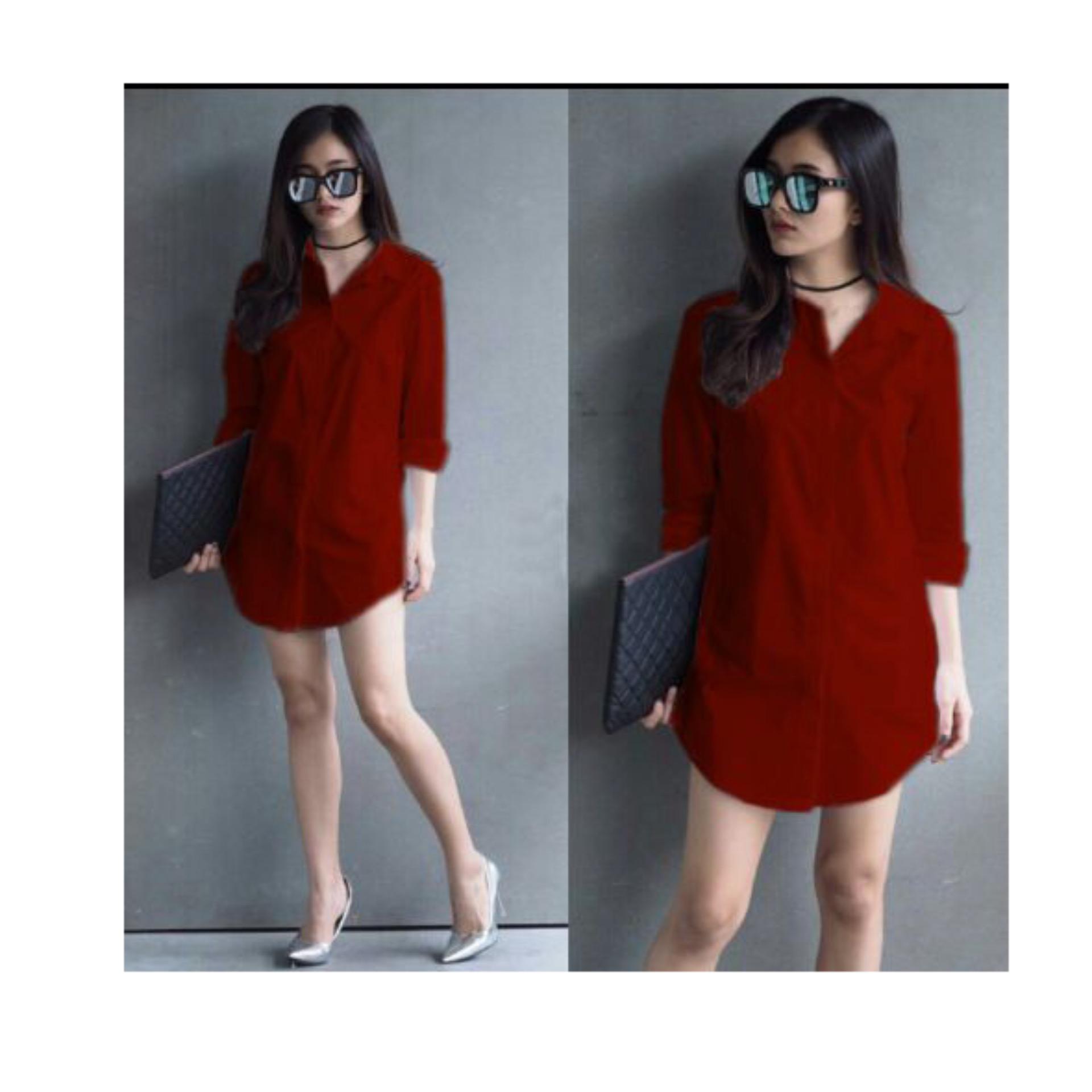 Fashionable F Fashion Tunik Wanita Shinta - Maroon   Baju Wanita   Blouse  Korea   Atasan Wanita 74e60d8ea3