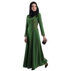 F27 Malaysia Indonesia Gaya Etnik Lace Tradisi Wanita Gaun (Hijau)-Intl