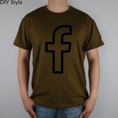 Facebook SVG PNG Ikon T-shirt Top Lycra Katun T Shirt Mens Lengan Pendek Pria Leher Bulat TEE Brown-Intl