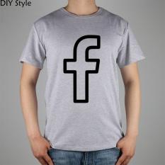 Facebook SVG PNG Ikon T-shirt Top Lycra Katun T Shirt Mens Lengan Pendek Pria Leher Bulat TEE Grey-Intl