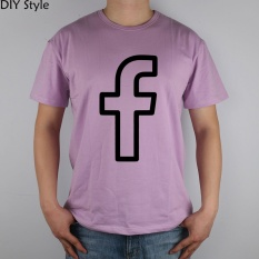 Facebook Svg Png Icon t-shirt Top Lycra Cotton Men T Shirt mens Short-sleeved round neck men's tee purple - intl