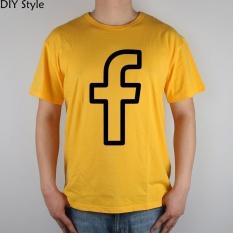 Facebook SVG PNG Ikon T-shirt Top Lycra Katun T Shirt Mens Lengan Pendek Pria Leher Bulat TEE Kuning-Intl