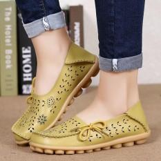 Pabrik Grosir Sandal Musim Panas Sepatu Lubang Kasut Leper Kulit Kasual Perempuan Berusia Doug Mama Sepatu Kode HIJAU-Intl