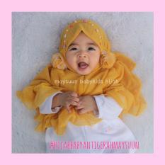 Fairuz Hijab, Jilbab  balita Lucu Adem, Kerudung Anak Murah, Hijab Baby Maysuun Warna Kuning Motif Rintik