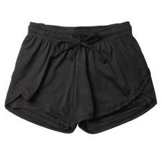 Fake Two Piece Wanita Olahraga Menjalankan Gym Shorts Cepat Kering Jogging Fitness Workout Breathable Yoga Shorts-hitam-Intl
