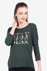 FAMO  Women Clothing Tops T-Shirts  Wanita Busana Atasan T-Shirts Green hijau Diskon discount murah bazaar baju celana fashion brand branded
