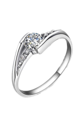 Fancyqube Kualitas Bagus Koktail Adapula Putih Batu Permata Topaz 925 Perak Cincin Kawin 0162 Perak