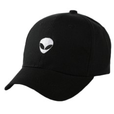 Fancyqube Alien Bordir Katun Cap Adjustable Sun Cap Couple Topi Hitam-Intl