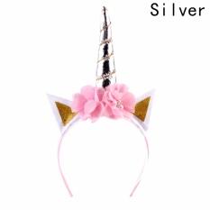 Fancyqube Glitter Metallic Cat Ear Hair Hoop Halloween Unicorn Headband Girls Flower Crown Hairbands Party Hair Accessories Silver - intl