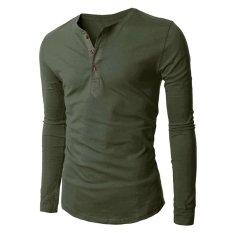 Jual Kesukaanqube Pria Fashion Tombol V Leher Lengan Baju Panjang Kaus Hijau Tentara Fancyqube