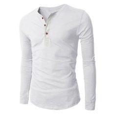 Harga Kesukaanqube Pria Fashion Didorong V Leher Lengan Memakai Baju Panjang Wearing T Shirt Putih Online Hong Kong Sar Tiongkok