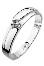 Fancyqube Pria Putih Batu Permata Topaz 925 Perak Cincin Pernikahan Hadiah Perak