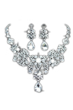Review Perak Paduan Anting Anting Imitasi Kalung Perhiasan Liontin Kristal Bridal Set Keping Di Hong Kong Sar Tiongkok