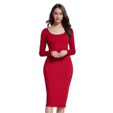 Spesifikasi Fancyqube Slim Panjang Gaun Lengan Burgundy Yg Baik