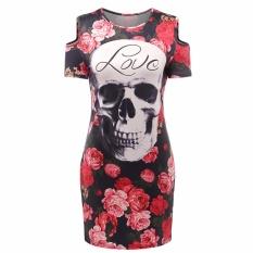 Fancyqube Women Skull Head Rose Flower Printed O- Neck Package Hip Mini Dress Multicolor