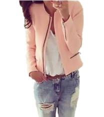 Harga Fancyqube Wanita Pelangsing Lengan Panjang Setelan Kecil O Leher Ritsleting Jaket Kasual Berwarna Merah Muda Yang Murah