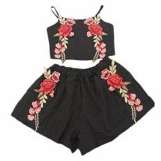 Fancyqube Wanita Bunga Baju Atasan Tanpa Lengan dan Celana Pendek 2 Piece Set Female Beach Style Black-Intl