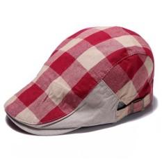 Fang musim panas 2016 Pria Wanita vintage datar baret tukang koran sopir kausal mengemudi topi sunbonnet Boinas bernapas kapas (Merah)