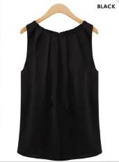 Fang Fang Fashion Kasual Wanita Blus T Shirt Vest Tank Kain Sutera Tipis Atasan Tanpa Lengan (Hitam) S-Intl