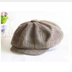 Fang Fang Fashion Wool Tweed Cabbie Newsboy Gatsby Cap Mens Ivy Hat Golf Driving Flat(Khaki) - Intl