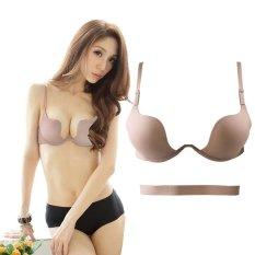 Harga Fang Fang Baru Ultra Deep U Terjun Wire Push Up V Bra 7 Way Straps Brassiere Underwear Beige Intl Satu Set
