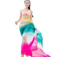 Fang Fang Wanita Dua Nada Chiffon Scarf Selendang Pareo Syal Musim Panas Beach Dress Tinggi Fashion 2016 Bikini Swimwear Menutupi Hawaiian Sarong-Pink Biru Kuning-Intl