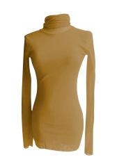 Fang Fang Womens Turtle Neck Long Sleeve Slim Stretchable Shirt Blouse (Incarnadine)