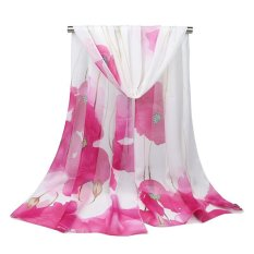 Fangfang Baru Lotus Print Chiffon Syal Sutra Adalah Dipakai Oleh Fashionable Tipis Scarf Air-conditioner Sun Scarf Pakaian Aksesori-Intl