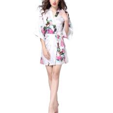 Fangfang Wanita Single Robe Lengan Sutra Piyama Jubah Mandi Ladies Summer Silk Peacock Gaun Leisure Wear Putih S-Intl