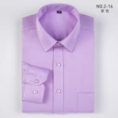 Fanshan Korea Modis Gaya Warna Polos Pria Lengan Panjang Bisnis Kasual Kemeja Kemeja Putih (2-16 (Ungu )) baju Atasan Kaos Pria Kemeja Pria