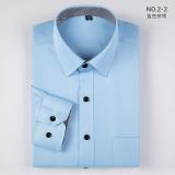 Jual Fanshan Korea Fashion Style Warna Solid Pria Lengan Panjang Bisnis Kasual Kemeja Kemeja Putih 2 2 Biru Pertarungan Kerah Lengkap