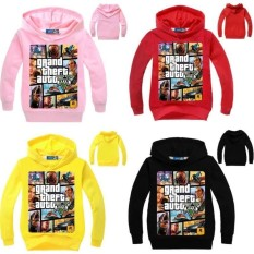 Fantastis Flower Hot Produk GTA5 Di Sekitar Anak-anak Game Hoody Kids Tops Hoodies Hadiah Natal GTA XBOX Kaos Switer Panjang Lengan Hoodie Dress Boy-Hitam-int: XL-Intl