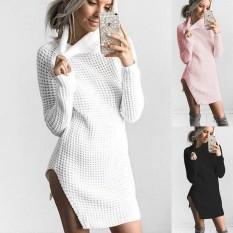 Toko Jual Fantastis Bunga Baru Populer Kerah Tinggi Loose Sweater Jumper Tops Dress Lebih Tahan Dr Perempuan Musim Gugur Musim Dingin Gaun Plus Ukuran S Xl Hitam Int S Intl