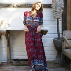 FARWAY Hot Jual Women Summer Beach Bohemian Gaun Cetak Maxi Elegan Pesta Perban Gaun Deep V-Neck Menunjukkan Tipis Pakaian Pakaian -Intl