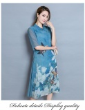 Beli Farway Baru Sutra Wanita Musim Panas Floral Fashion Bordir Slim Fit Wanita Casual Stand Pendek Lengan Midi Formal Beach Dress Gaun Biru Intl Farway
