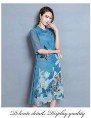 Tips Beli Farway Baru Sutra Wanita Musim Panas Floral Fashion Bordir Slim Fit Wanita Casual Stand Pendek Lengan Midi Formal Beach Dress Gaun Biru Intl