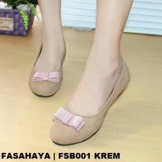 Beli Fasahaya Sepatu Wanita Flat Shoes Ballet Cantik Terbaru Murah Fsb001 Krem Online Jawa Barat