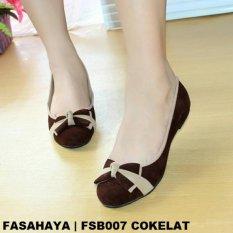 Jual Cepat Fasahaya Sepatu Wanita Flat Shoes Ballet Terbaru Murah Fsb007 Cokelat