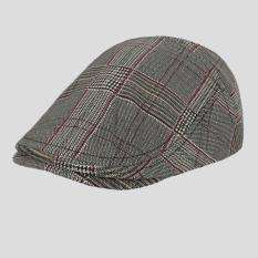 Faseno Topi Pria Painter Seniman Pelukis Flatcap Newsboy Shaggy Dog Beret Hat Tartan coklat muda