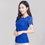 Spesifikasi Fashion 2016 Wanita Seksi Musim Panas Bunga Renda Tipis Pas Padat Blus Lengan Pendek Kemeja Wanita Kasual Elegan Atasan Tee Blusas Ukuran Lebih Biru